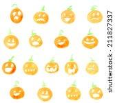 Set Of Watercolor Pumpkins....