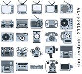 retro electronic vector icons | Shutterstock .eps vector #211844719