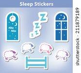 sleep stickers  count sheep... | Shutterstock .eps vector #211879189