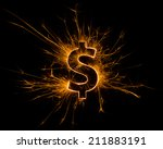 Dollar   Symbol On Fire With...