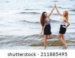 Summer  Sea. Cute Girls On The...