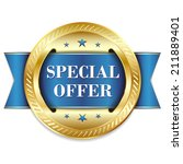 blue round special offer badge... | Shutterstock .eps vector #211889401