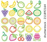fruit icon colorful   Shutterstock .eps vector #211892164