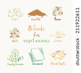 8 foods for vegetarians and... | Shutterstock .eps vector #211922611