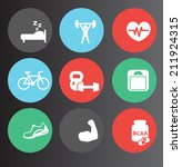 fitness icons set 3 | Shutterstock .eps vector #211924315