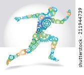 running man made color gears... | Shutterstock .eps vector #211944739
