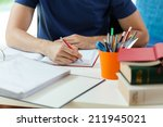 horizontal view of student... | Shutterstock . vector #211945021