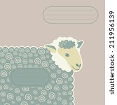 sheep with decorative swirls  | Shutterstock .eps vector #211956139