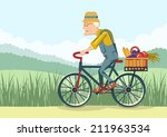 pensioner drive by bicycle... | Shutterstock .eps vector #211963534