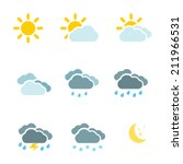weather icons set color simple... | Shutterstock .eps vector #211966531