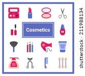 flat cosmetic icons set....