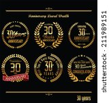 Anniversary laurel wreath retro labels, 30 years