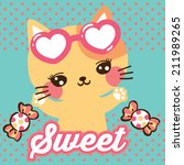cute cat cartoon and candy on... | Shutterstock .eps vector #211989265