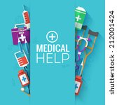 medical flat background concept.... | Shutterstock .eps vector #212001424