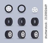 auto garage wheels disk montage ... | Shutterstock .eps vector #212002669