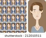 sad girl set | Shutterstock .eps vector #212010511