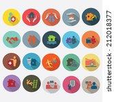 insurance icons set in flat...   Shutterstock .eps vector #212018377