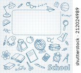 school doodle on the page with... | Shutterstock .eps vector #212024989