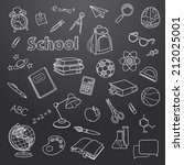 school doodle on a blackboard... | Shutterstock .eps vector #212025001