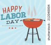 happy labor day grill barbecue... | Shutterstock .eps vector #212040004