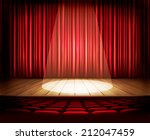 a theater stage with a red... | Shutterstock .eps vector #212047459