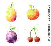 set of fruits illustration with ... | Shutterstock . vector #212048629