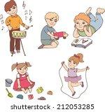 set with different children's