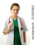 pretty woman in green medical... | Shutterstock . vector #21205363