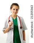 pretty woman in green medical... | Shutterstock . vector #21205363