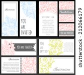 set of invitations with floral...   Shutterstock . vector #212066179
