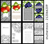 set of invitations with floral... | Shutterstock .eps vector #212066209