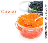 spoon of red caviar in a glass... | Shutterstock . vector #212119879