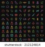 set of 100 minimal universal... | Shutterstock .eps vector #212124814