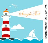 vector card with lighthouse and ... | Shutterstock .eps vector #212124895