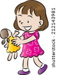 girl playing with a doll | Shutterstock .eps vector #212143981
