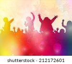 dancing children silhouettes | Shutterstock .eps vector #212172601
