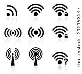 set black vector wireless and... | Shutterstock .eps vector #212193547