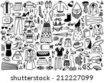 hand drawn fashion doodles... | Shutterstock .eps vector #212227099