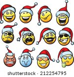 big collection of smiliey faces ... | Shutterstock . vector #212254795