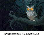 Owl Sitting Upon A Tree Branch...