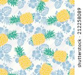 seamless pineapples background... | Shutterstock .eps vector #212258089