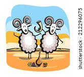 singing sheep. two sheep drink... | Shutterstock .eps vector #212296075