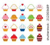 cupcake with heart  cherry and... | Shutterstock .eps vector #212303689