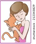 woman carry a cat | Shutterstock .eps vector #212343829