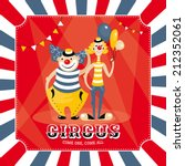 vintage vector card with clowns | Shutterstock .eps vector #212352061