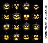 Set Of Vector Jack O Lantern...