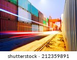 container terminal at night ...   Shutterstock . vector #212359891