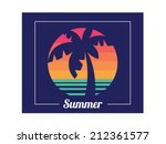 tropical beach sunset  coconut... | Shutterstock .eps vector #212361577