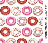 vector donuts. seamless pattern ... | Shutterstock .eps vector #212364544
