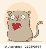 little cute cat holding a red... | Shutterstock .eps vector #212390989